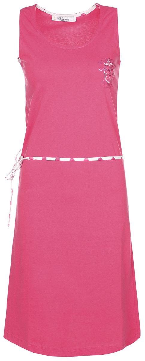 Платье домашнее Vienetta'S Secret Якорь, цвет: малиновый. 71411021 4743. Размер S (44)71411021 4743Почувствуйте расслабленность и уют, надев после трудового дня невероятно уютное домашнее платье Vienetta Secret.Платье выполнено из натурального хлопка, благодаря чему оно необычайно мягкое и приятное на ощупь, не сковывает движения, позволяет коже дышать, не раздражает даже самую нежную и чувствительную кожу, обеспечивая наибольший комфорт.Домашнее платье приталенного кроя и с круглым вырезом горловины дополнено легким поясом. Модель оформлена оригинальным принтом с морской тематикой.Домашняя одежда играет большую роль в гардеробе женщины, ведь каждой женщине хочется даже дома выглядеть привлекательной.