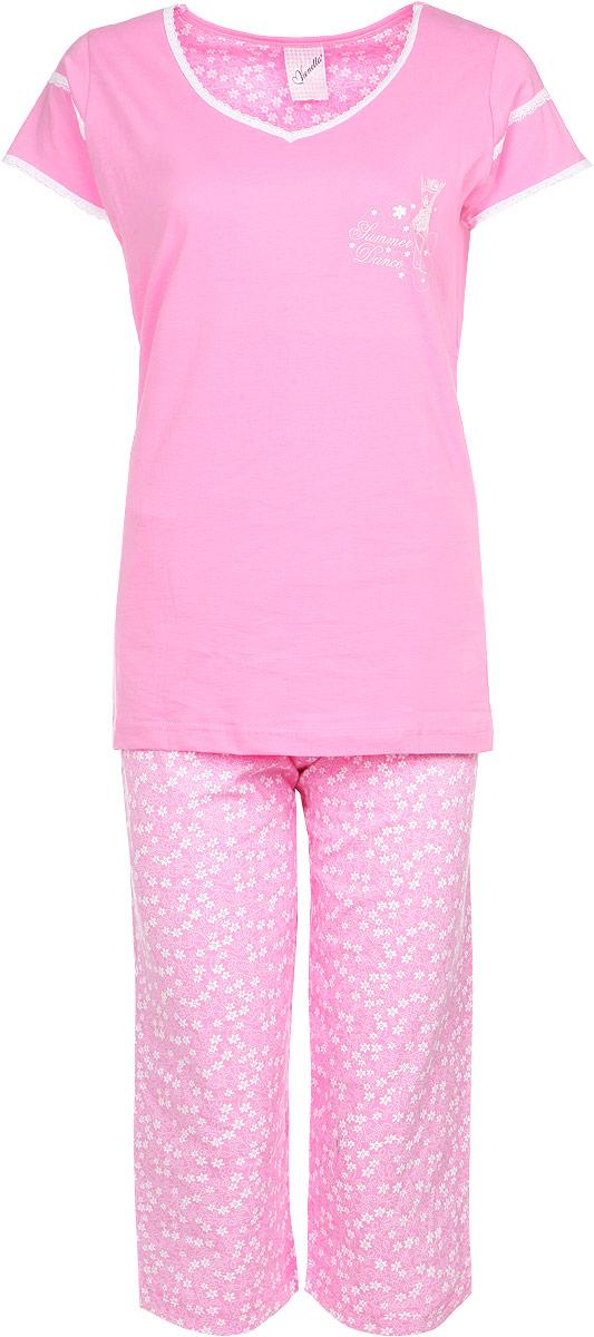 Комплект женский Vienettas Secret Sumer Dance: футболка, капри, цвет: розовый. 71408052 4668. Размер M (46)71408052 4668Комплект домашней женской одежды Vienetta Secret, состоящий из футболки и капри, станет отличным дополнением к вашему гардеробу. Выполненный из высококачественного хлопка, комплект мягкий и приятный на ощупь, не сковывает движения и позволяет коже дышать, обеспечивая наибольший комфорт.Стильная футболка приталенного кроя дополнена короткими рукавами и V-образным вырезом. Изделие оформлено кружевом и принтом с блестками.Капри свободного кроя на поясе дополнены эластичной вставкой с завязками и оформлены веселым цветочным принтом. Стильный комплект одежды подарит вам удобство и комфорт, подчеркнет вашу индивидуальность.