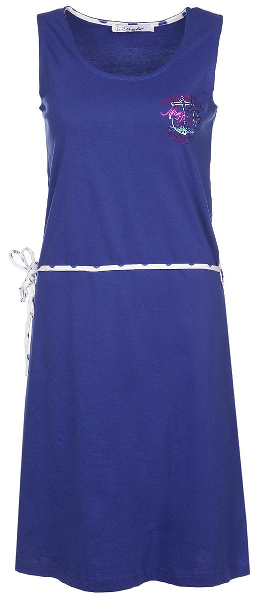 Платье домашнее Vienetta'S Secret Якорь, цвет: синий. 71411021 4743. Размер S (44)71411021 4743Почувствуйте расслабленность и уют, надев после трудового дня невероятно уютное домашнее платье Vienetta Secret.Платье выполнено из натурального хлопка, благодаря чему оно необычайно мягкое и приятное на ощупь, не сковывает движения, позволяет коже дышать, не раздражает даже самую нежную и чувствительную кожу, обеспечивая наибольший комфорт.Домашнее платье приталенного кроя и с круглым вырезом горловины дополнено легким поясом. Модель оформлена оригинальным принтом с морской тематикой.Домашняя одежда играет большую роль в гардеробе женщины, ведь каждой женщине хочется даже дома выглядеть привлекательной.