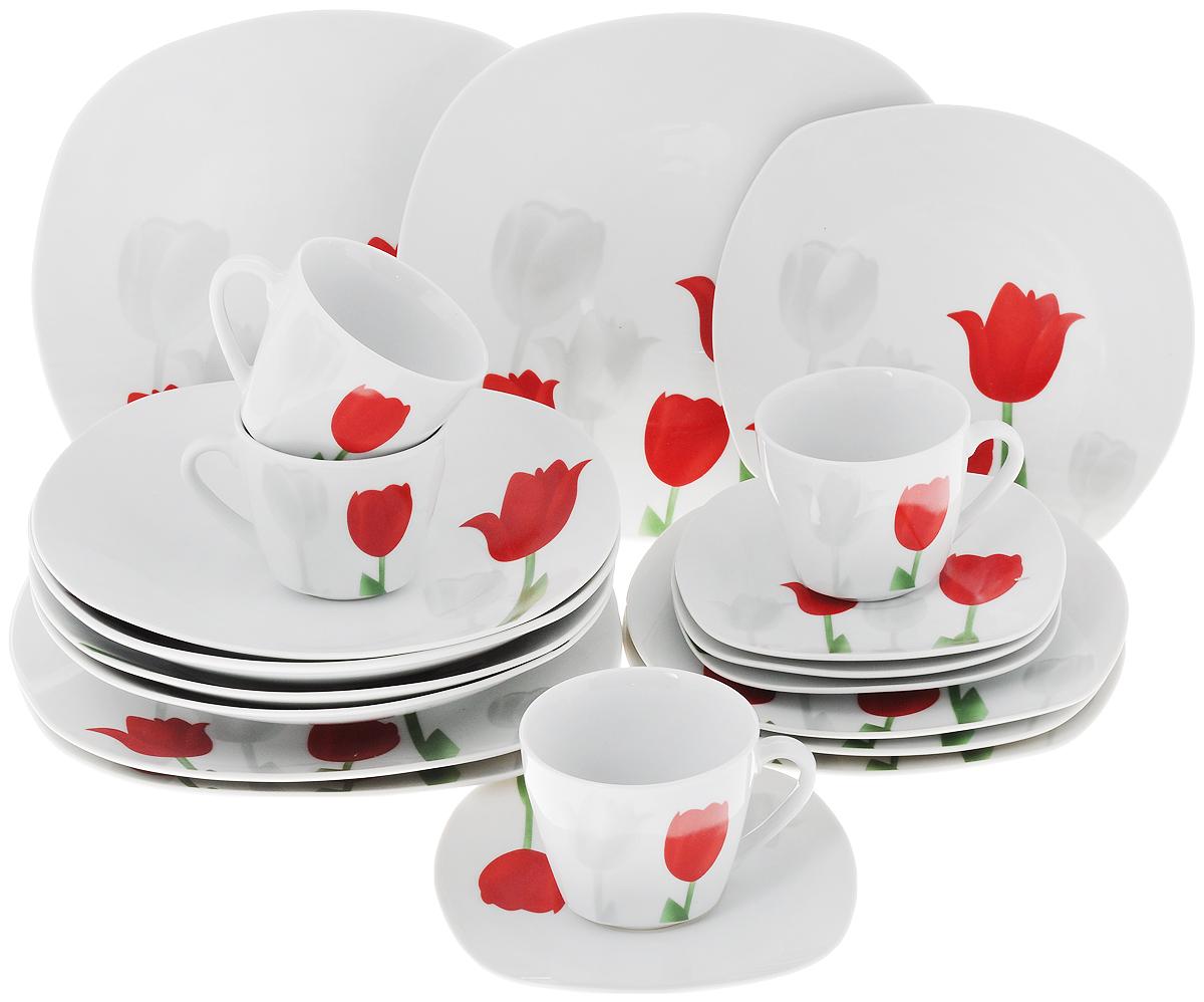 Сервиз столовый Доляна Тюльпаны, 20 предметов836432Столовый сервиз Доляна Тюльпаны состоит из 4 обеденных тарелок, 4 суповых тарелок, 4 десертных тарелок, 4 блюдец и 4 кружек, изготовленных из высококачественной керамики. В качестве покрытия используется глазурь. Изделия оформлены красивым цветочным рисунком. Такой сервиз придется по вкусу любителям классики, и тем, кто предпочитает утонченность и изысканность.Размер обеденной тарелки: 23 х 23 х 2,5 см. Размер суповой тарелки: 22 х 22 х 4 см. Размер десертной тарелки: 19 х 19 х 1,5 см. Размер блюдца: 15 х 15 х 1,5 см. Объем кружки: 180 мл. Диаметр кружки (по верхнему краю): 7,8 см. Высота кружки: 7 см.