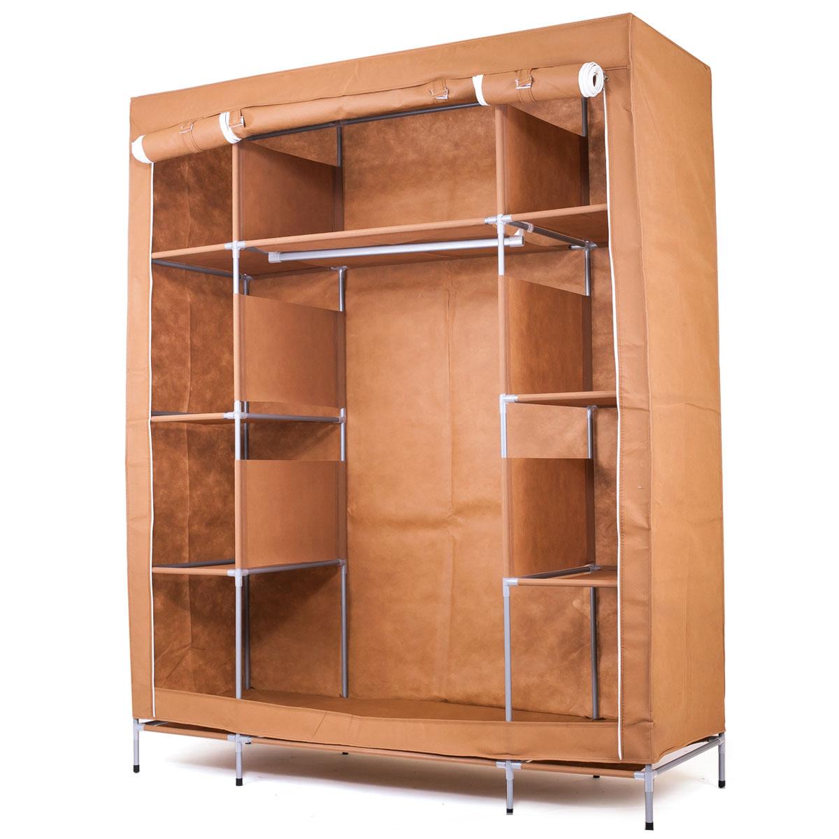 Шкаф Homsu Маджорити, цвет: коричневый, 140 x 50 x 175 смHOM-105Шкаф Homsu Маджорити выполнен из текстиля. Сборная конструкция такого шкафа состоит из металлических деталей каркаса, обтянутых сверху прочной и легкой тканью. Этот шкаф предназначен в создании полноценного порядка. Изделие имеет 8 полок для складывания одежды 35 х 50 см и один большой 70 х 50 см отделениями, а также отделению для подвешивания одежды высотой 120 см и шириной 70 см. Кроме своей большой практичной пользы, данный мебельный предмет также сможет очень выгодно дополнить имеющийся интерьер в помещении. Верхняя тканевая обивка, при этом, всегда может быть легко и быстро снята, если ее необходимо будет постирать или заменить.