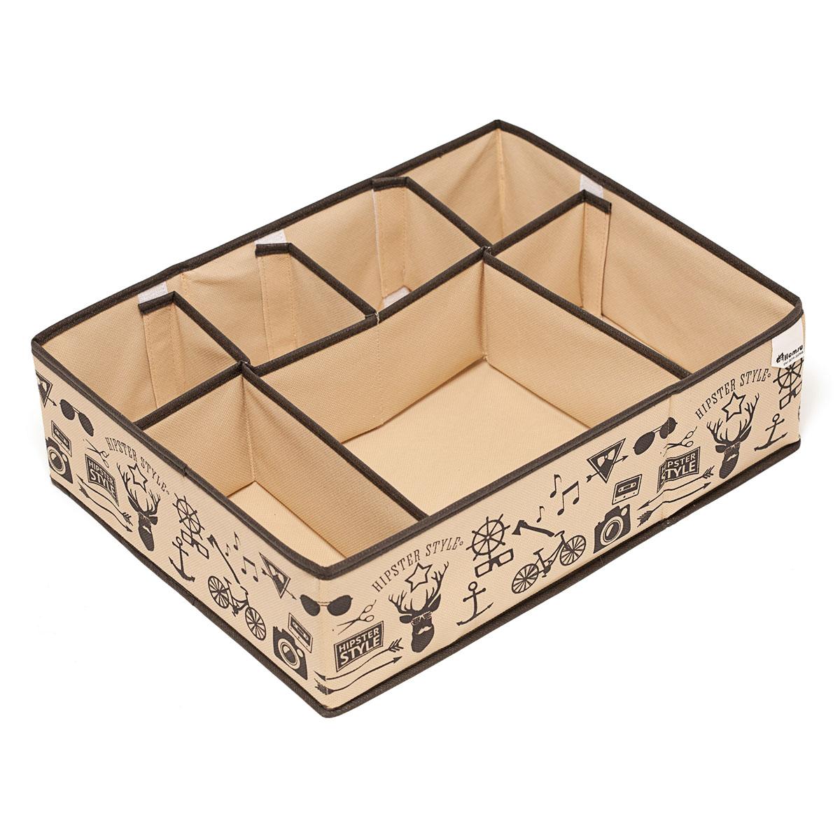 Органайзер для хранения вещей Homsu Hipster Style, 7 секций, 44 х 34 х 11 смHOM-121Компактный органайзер Homsu Hipster Style изготовлен из высококачественного полиэстера, который обеспечивает естественную вентиляцию. Материал позволяет воздуху свободно проникать внутрь, но не пропускает пыль. Органайзер отлично держит форму, благодаря вставкам из плотного картона. Изделие имеет 7 секций для хранения нижнего белья, колготок, носков и другой одежды.Такой органайзер позволит вам хранить вещи компактно и удобно, а оригинальный дизайн сделает вашу гардеробную красивой и невероятно стильной.