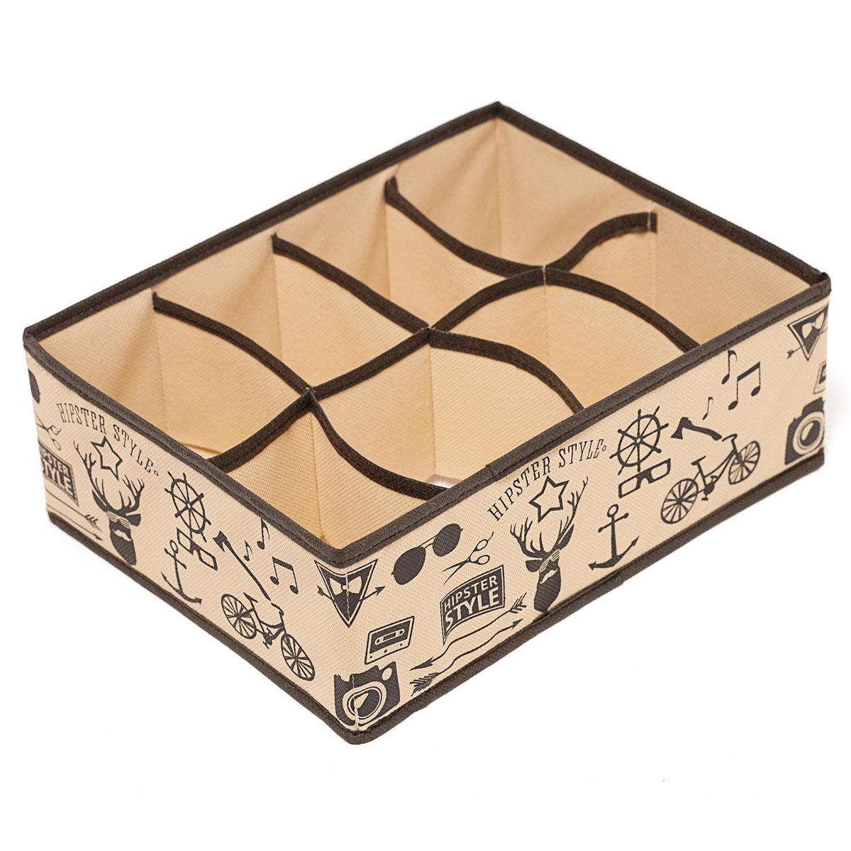 Органайзер для хранения вещей Homsu Hipster Style, 8 секций, 31 х 24 х 11 смHOM-122Компактный органайзер Homsu Hipster Style изготовлен из высококачественного полиэстера, который обеспечивает естественную вентиляцию. Материал позволяет воздуху свободно проникать внутрь, но не пропускает пыль. Органайзер отлично держит форму, благодаря вставкам из плотного картона. Изделие имеет 8 секций для хранения нижнего белья, колготок, носков и другой одежды.Такой органайзер позволит вам хранить вещи компактно и удобно, а оригинальный дизайн сделает вашу гардеробную красивой и невероятно стильной. Размер секции: 12 х 8 см.