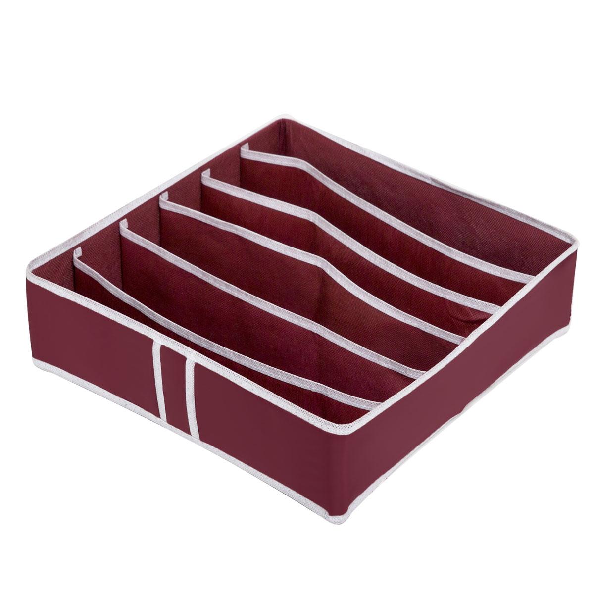 Органайзер для хранения Homsu Red Rose, 6 секций, 35 x 35 x 10 смHOM-13Компактный складной органайзер Homsu Red Rose изготовлен из высококачественного полиэстера, который обеспечивает естественную вентиляцию. Материал позволяет воздуху свободно проникать внутрь, но не пропускает пыль. Органайзер отлично держит форму, благодаря вставкам из плотного картона. Изделие имеет 6 секций для хранения нижнего белья, колготок, носков и другой одежды.Такой органайзер позволит вам хранить вещи компактно и удобно.