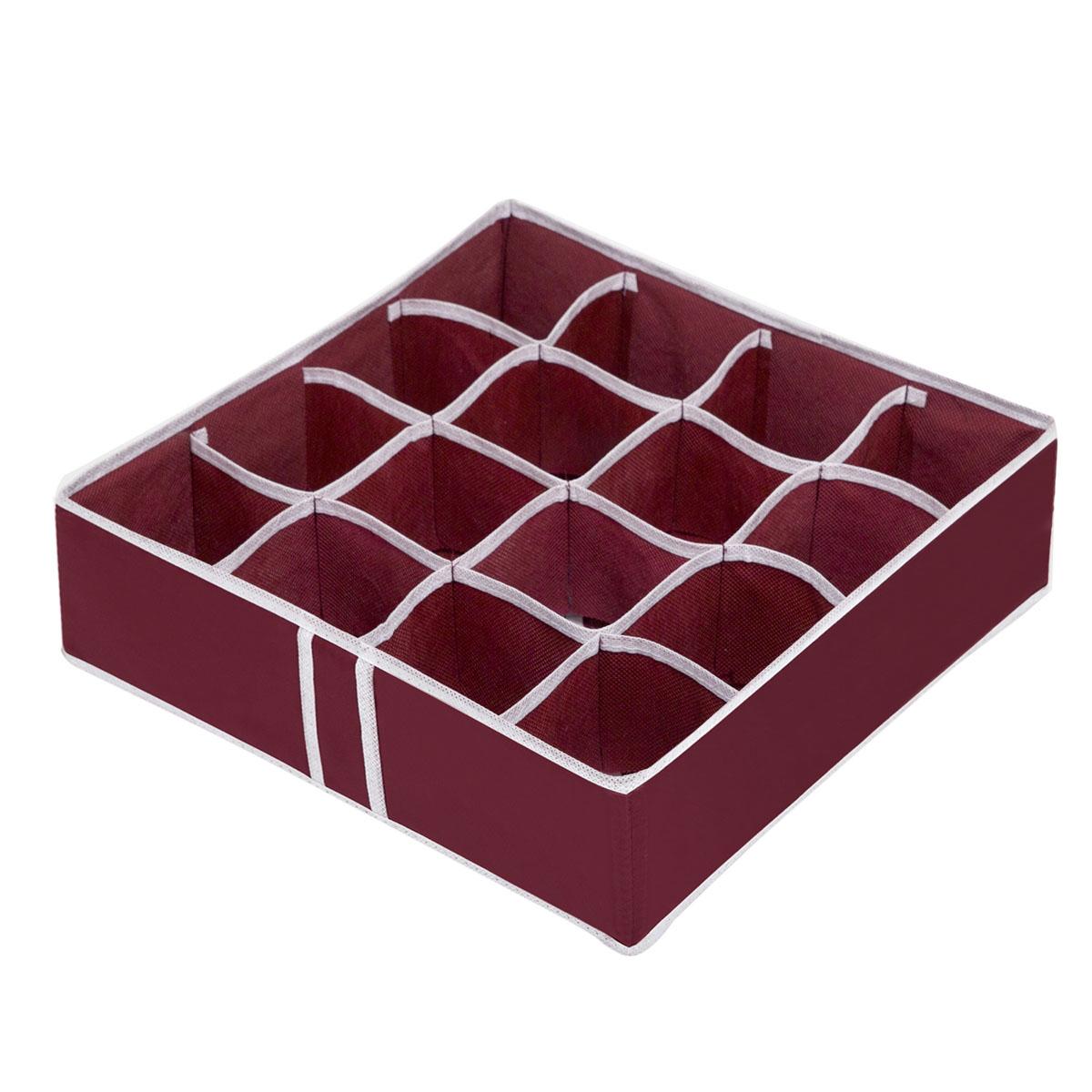 Органайзер для хранения вещей Homsu Red Rose, 16 секций, 35 x 35 x 10 смHOM-14Компактный складной органайзер Homsu Red Rose изготовлен из высококачественного полиэстера, который обеспечивает естественную вентиляцию. Материал позволяет воздуху свободно проникать внутрь, но не пропускает пыль. Органайзер отлично держит форму, благодаря вставкам из плотного картона. Изделие имеет 16 квадратных секций для хранения нижнего белья, колготок, носков и другой одежды.Такой органайзер позволит вам хранить вещи компактно и удобно.Размер секции: 8 х 8 см.