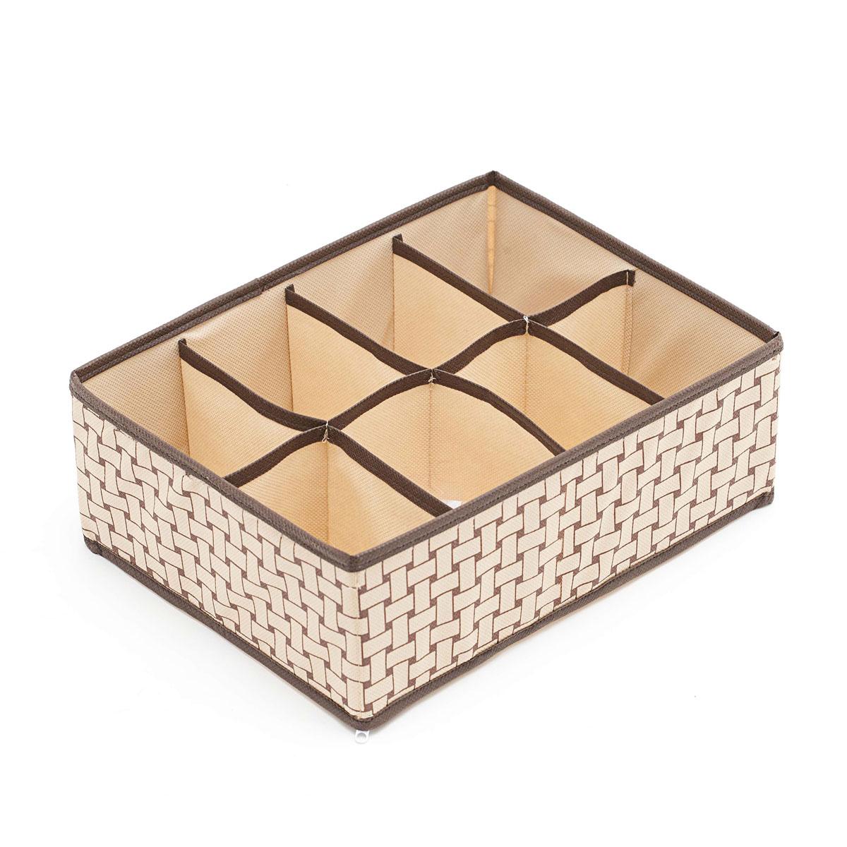 Органайзер для хранения вещей Homsu Pletenka, 8 секций, 31 х 24 х 11 смHOM-160Компактный органайзер Homsu Pletenka изготовлен из высококачественного полиэстера, который обеспечивает естественную вентиляцию. Материал позволяет воздуху свободно проникать внутрь, но не пропускает пыль. Органайзер отлично держит форму, благодаря вставкам из плотного картона. Изделие имеет 8 квадратных секций для хранения нижнего белья, колготок, носков и другой одежды.Такой органайзер позволит вам хранить вещи компактно и удобно.