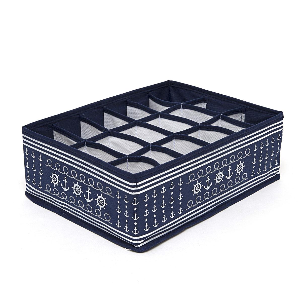 Органайзер для хранения вещей Homsu Ocean, 18 секций, 31 х 24 х 11 смHOM-220Компактный складной органайзер Homsu Ocean изготовлен из высококачественного полиэстера, который обеспечивает естественную вентиляцию. Материал позволяет воздуху свободно проникать внутрь, но не пропускает пыль. Органайзер отлично держит форму, благодаря вставкам из плотного картона. Изделие имеет 18 квадратных секций для хранения нижнего белья, колготок, носков и другой одежды.Такой органайзер позволит вам хранить вещи компактно и удобно.