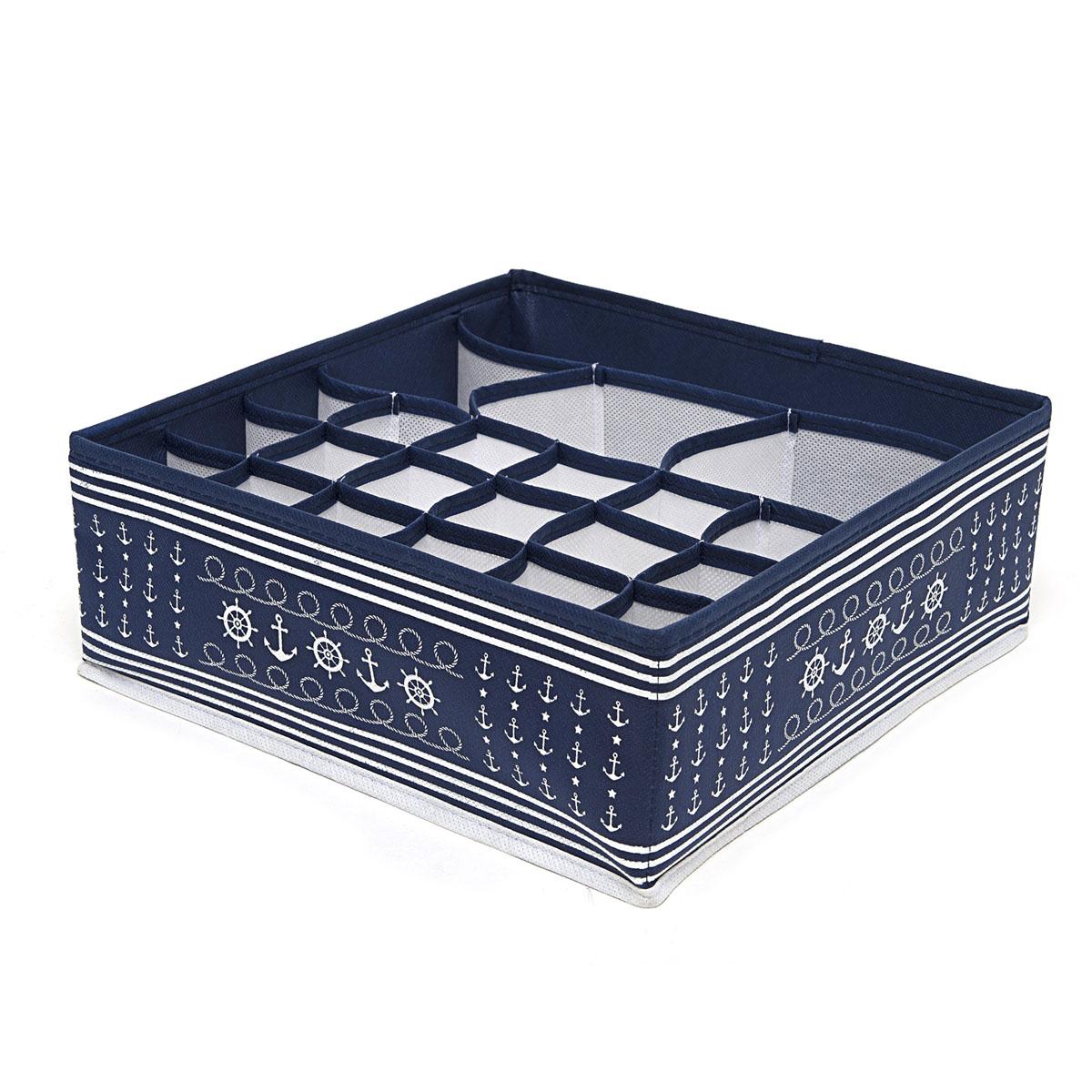 Органайзер для хранения вещей Homsu Ocean, 22 секции, 30 х 30 х 11 смHOM-222Компактный органайзер Homsu Ocean изготовлен из высококачественного полиэстера, который обеспечивает естественную вентиляцию. Материал позволяет воздуху свободно проникать внутрь, но не пропускает пыль. Органайзер отлично держит форму, благодаря вставкам из плотного картона. Изделие имеет 22 квадратные секции для хранения нижнего белья, колготок, носков и другой одежды.Такой органайзер позволит вам хранить вещи компактно и удобно.