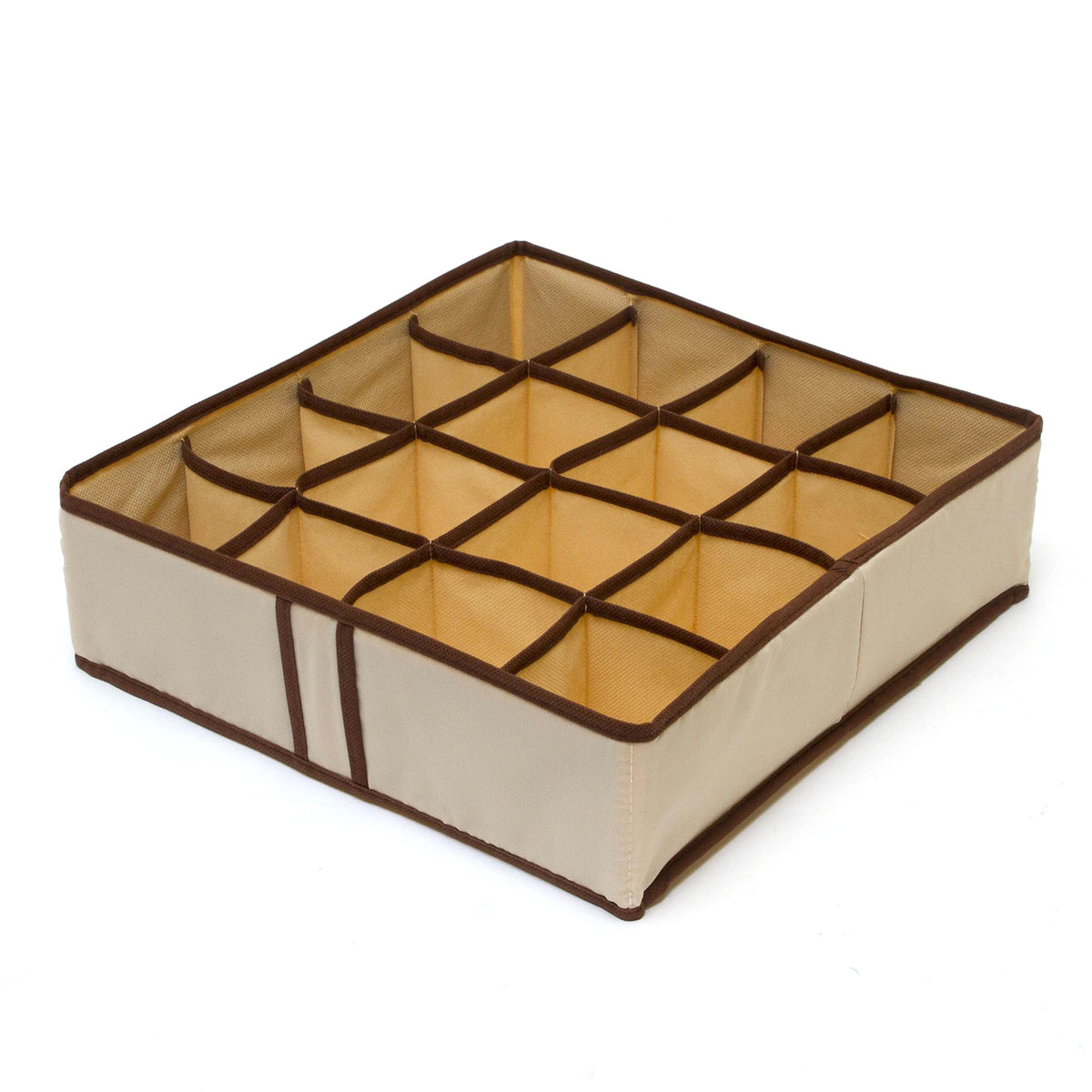 Органайзер для хранения вещей Homsu Bora-Bora, 16 секций, 35 x 35 x 10 смHOM-27Компактный складной органайзер Homsu Bora-Bora изготовлен из высококачественного полиэстера, который обеспечивает естественную вентиляцию. Материал позволяет воздуху свободно проникать внутрь, но не пропускает пыль. Органайзер отлично держит форму, благодаря вставкам из плотного картона. Изделие имеет 16 квадратных секций для хранения нижнего белья, колготок, носков и другой одежды.Такой органайзер позволит вам хранить вещи компактно и удобно.