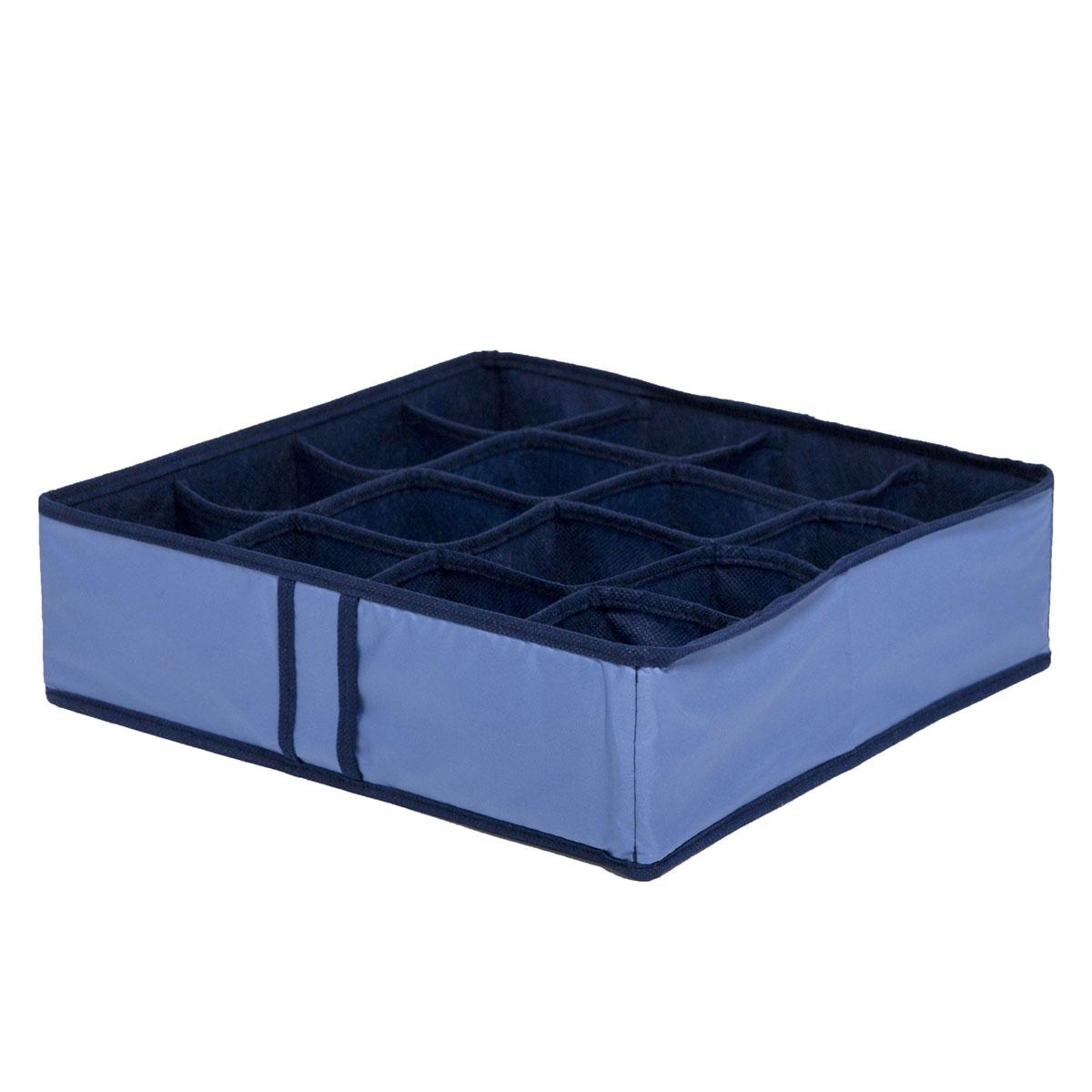 Органайзер для хранения вещей Homsu Bluе Sky, 16 секций, 35 x 35 x 10 смHOM-54Компактный органайзер Homsu Bluе Sky изготовлен из высококачественного полиэстера, который обеспечивает естественную вентиляцию. Материал позволяет воздуху свободно проникать внутрь, но не пропускает пыль. Органайзер отлично держит форму, благодаря вставкам из плотного картона. Изделие имеет 16 квадратных секций для хранения нижнего белья, колготок, носков и другой одежды.Такой органайзер позволит вам хранить вещи компактно и удобно.