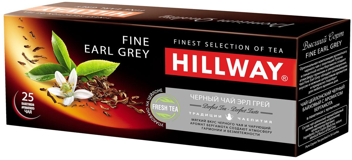 Hillway Fine Earl Grey чай черный в пакетиках, 25 шт8886300990072Оригинальная композиция ароматного черного чая с плантаций Рухуна и пикантной нотки бергамота создает атмосферу гармонии и умиротворения. Чай Fine Earl Grey обладает освежающим вкусом, нежным цитрусовым ароматом и прекрасно подойдет для любого времени дня.Всё о чае: сорта, факты, советы по выбору и употреблению. Статья OZON Гид