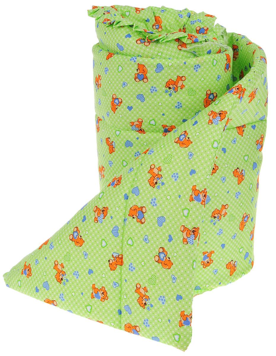 Фея Комплект для детской кроватки Мишки цвет зеленый 2 предмета1047_мишкиКомплект в кроватку Фея Мишки состоит из бортика и балдахина. Бортик в кроватку состоит из четырех частей и закрывает весь периметр кроватки. Бортик крепится к кроватке с помощью специальных завязок, благодаря чему его можно поместить в любую детскую кроватку. Выполнен натурального хлопка безупречной выделки. Деликатные швы рассчитаны на прикосновение к нежной коже ребенка. Борт оформлен изображениями забавных плюшевых медвежат.Балдахин, выполненный из полиэстера, может использоваться как для люльки, так и для кроватки. Сверху балдахин декорирован вставкой из хлопка с рисунком. Изделие оснащено двумя атласными лентами с мягкими игрушками в виде сердец на концах. Ленты завязываются на бант.