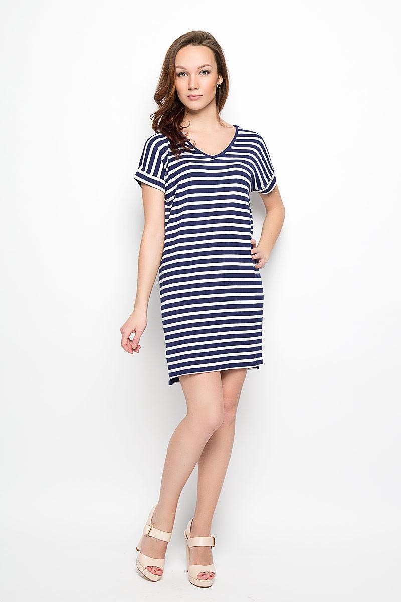 Платье Moodo, цвет: синий, белый. L-SU-2009 NAVY. Размер S (44) цена 2017