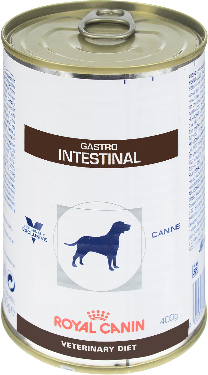 Консервы для собак Royal Canin Gastro Intestinal, при нарушениях пищеварения, 400 г24131Консервы Royal Canin Gastro Intestinal - это полнорационный диетический корм для собак, рекомендуемый при острых расстройствах пищеварения, в реабилитационный период и при истощении. Показания к применению: - Острая и хроническая диарея. - Хроническое воспаление кишечника. - Плохая переваримость и абсорбция питательных веществ. - Восстановительный период после болезни. - Пролиферация бактерий в тонком кишечнике. - Экзокринная недостаточность поджелудочной железы. - Колит. - Гастрит. - Анорексия. Сочетание высококачественных белков с высокой степенью усвояемости, пребиотиков (маннановые олигосахариды), клетчатки и рыбьего жира обеспечивает максимальную безопасность пищеварения. Повышенное содержание энергии соответствует энергетическим потребностям собаки, позволяет ограничить объем корма и снизить нагрузку на желудочно-кишечный тракт, также помогает восстановить вес в период выздоровления.Эйкозапентаеновая и докозагексаеновая кислоты, длинноцепочечные жирные кислоты Омега 3 способствуют поддержанию здоровья пищеварительной системы. Комплекс антиоксидантов синергичного действия снижает уровень окислительного стресса и борется со свободными радикалами. Состав: свинина и мясо птицы, лосось, рис, растительная клетчатка, подсолнечное масло, минеральные вещества, желирующие вещества, таурин, рыбий жир, экстракт дрожжей (источник маннановых олигосахаридов), экстракт бархатцев прямостоячих (источник лютеина), микроэлементы (в т. ч. в хелатной форме), витамины.Добавки на 1 кг: витамин D3 - 380 МЕ, железо - 7 мг, йод - 0,35 мг, медь - 3 мг, марганец - 2 мг, цинк - 21 мг.Питательные вещества на 100 г: белки 8,5%, жиры 6,5%, углеводы 6,1%, клетчатка пищевая 1,5%, влажность 75%, минеральные вещества 2%. Энергетическая ценность на 1 кг: 1088 ккал. Вес: 400 г. Товар сертифицирован.Расстройства пищеварения у собак: кто виноват и что делать. Статья OZON Гид