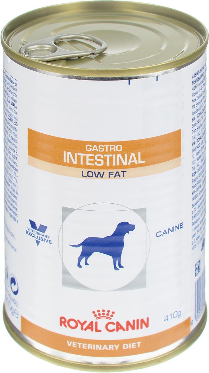 Консервы для собак Royal Canin Gastro Intestinal Low Fat, при нарушении пищеварения, c пониженным содержанием жира, 410 г22323Royal Canin Gastro Intestinal Low Fat - это полнорационный диетический корм для собак, способствующий регуляции метаболизма липидов при гиперлипидемии. Этот продукт содержит малое количество жиров и высокий уровень основных жирных кислот. Показания к применению:- острая и хроническая диарея;- гиперлипидемия;- острый панкреатит (в том числе перенесенный ранее);- пролиферация бактерий в тонком кишечнике;- лимфангиэктазия – экссудативная энтеропатия;- экзокринная недостаточность поджелудочной железы. Противопоказания:- беременность и лактация. Длительность применения диеты варьируется в зависимости от тяжести симптомов нарушения пищеварения. Для оптимальной работы пищеварительной системы необходимо соблюдение суточного рациона и увеличение его кратности кормлений в день. Сочетание высококачественных белков с высокой степенью усвояемости, пребиотиков (фруктоолигосахариды и маннановые олигосахариды), свекольного жома, риса и рыбьего жира обеспечивает максимальную безопасность пищеварения. Низкая концентрация жиров в диете улучшает пищеварительную функцию у собак, страдающих гиперлипидемией или острым панкреатитом. Невысокое содержание растворимой клетчатки снижает чрезмерную ферментацию в толстом отделе кишечника. Низкое содержание нерастворимой клетчатки помогает избежать энергетических затрат на ее переваривание, а также свести к минимуму потерю вкусовой привлекательности диеты. Комплекс антиоксидантов синергичного действия снижает уровень окислительного стресса и борется со свободными радикалами. Состав: мясо и мясные субпродукты, злаки, субпродукты растительного происхождения, минеральные вещества, масла и жиры, дрожжи.Добавки (на 1 кг): витамин D3: 200 МЕ, железо: 8 мг, йод: 0.15 мг, марганец: 2.5 мг, цинк: 24 мг.Энергетическая ценность: 997 ккал. Вес: 410 г. Товар сертифицирован.