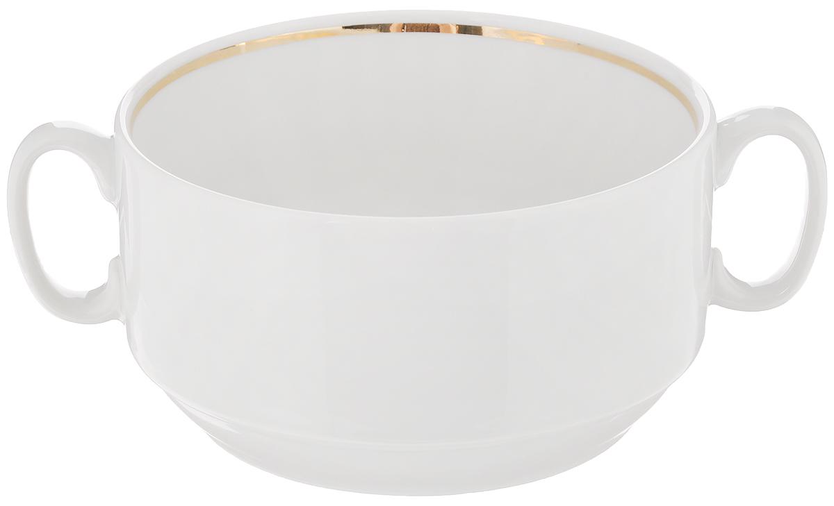 Чашка для бульона Белье, 470 мл. 12011361201136Чашка Белье, изготовленная из высококачественного фарфора, предназначена для подачи супов и бульонов. Изделие оснащено 2 ручками для более удобного использования. Оригинальная чашка для бульона Белье украсит сервировку вашего стола и подчеркнет прекрасный вкус хозяина, а также станет отличным подарком.Диаметр чашки (по верхнему краю): 11,7 см.Высота чашки: 6,5 см.