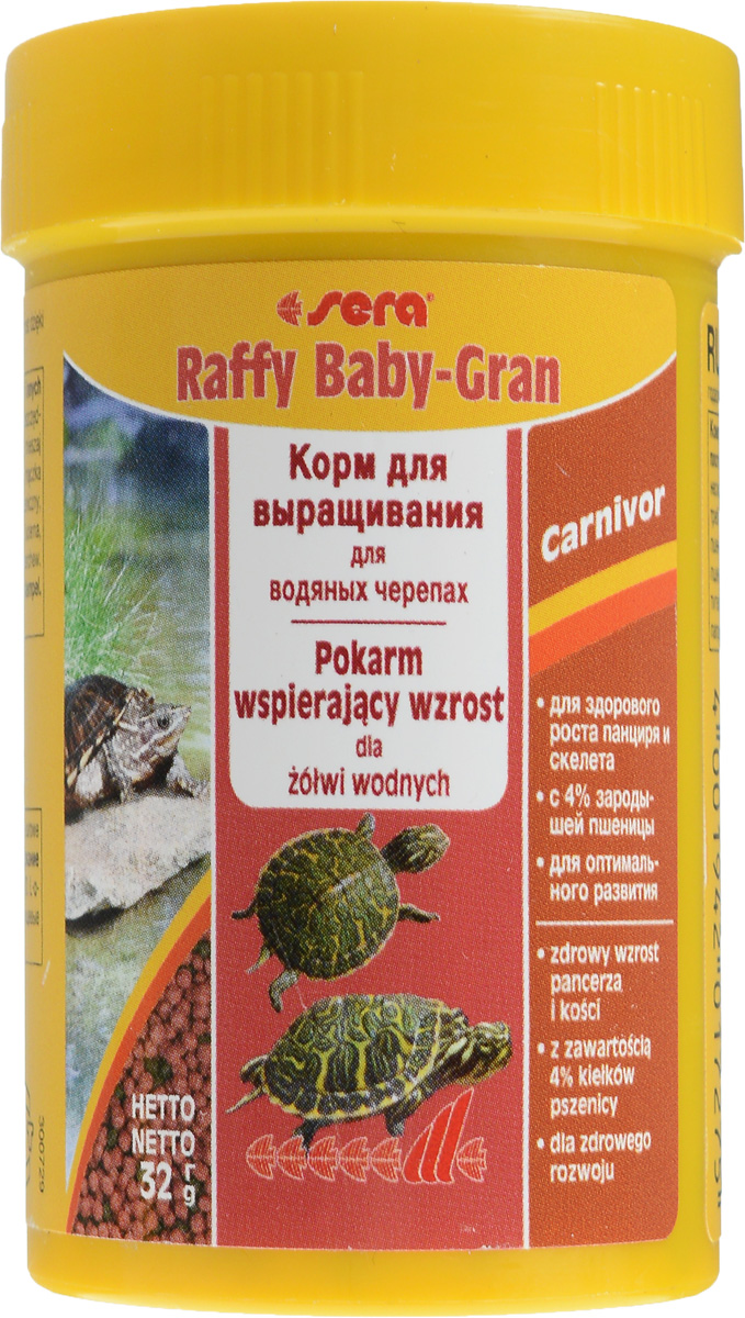 Корм Sera Raffy Baby-Gran, для водяных черепах, в виде гранул, 100 мл (32 г)16011_черепахиSera Raffy Baby-Gran - это комплексный корм для выращивания молодых водяных черепах и других плотоядных рептилий. Благодаря сбалансированному составу, корм восполняет потребности растущих рептилий, не только поддерживая их здоровое развитие при росте - особенно формирование скелета и развитие панциря - но и устойчивость к заболеваниям. Плавающие шарики корма легко поедаются даже самыми мелкими рептилиями.Состав: рыбная мука, кукурузный крахмал, пшеничная клейковина, пшеничная мука, пшеничные зародыши (4%), пивные дрожжи, спирулина, пшеничная клейковина, рыбий жир, криль, зеленые мидии, гаммарус, люцерна, растительное сырье, крапива, петрушка, морские водоросли, паприка, шпинат, морковь, чеснок.Аналитический состав: протеин 35%, жиры 6,7%, клетчатка 4,8%, влажность 5%, зольные вещества 5,7%, кальций 1,8%, фосфор 0,8%.Содержание добавок: витамин A 14400 МЕ/кг, витамин D3 1800 МЕ/кг, витамин Е 180 мг/кг, витамин B1 18 мг/кг, витамин B2 18 мг/кг, витамин C 180 мг/кг.Вес: 32 г (100 мл).Товар сертифицирован.