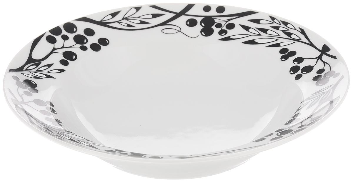 Тарелка глубокая Идиллия. Рябиновый узор, диаметр 24 см тарелка идиллия космея диаметр 24 см