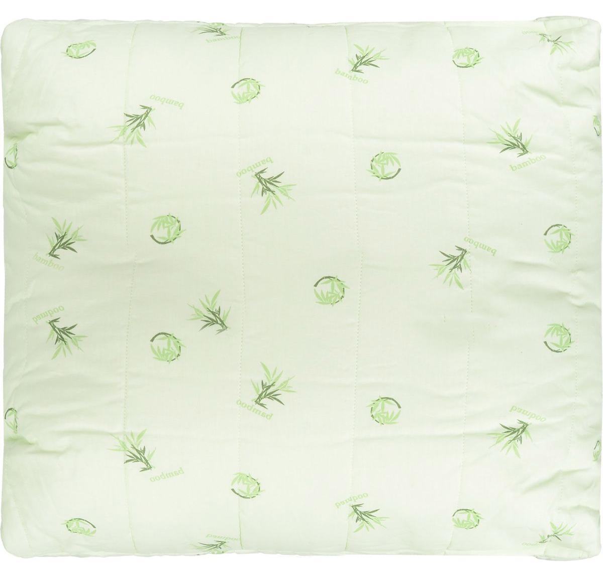 """Подушка Легкие сны """"Бамбук"""" подарит комфорт и уют во время сна. Чехол выполнен из 100% хлопка.Волокно бамбука - это натуральный материал, добываемый из стеблей растения. Он обладает способностью быстро впитывать и испарять влагу, а также антибактериальными свойствами, что препятствует появлению пылевых клещей и болезнетворных бактерий.  Изделия с наполнителем из бамбука легко пропускают воздух, создавая охлаждающий эффект, поэтому им нет равных в жару. Они отличаются превосходными дезодорирующими свойствами, мягкие, легкие, нетребовательны в уходе, гипоаллергенные и подходят абсолютно всем. Основные свойства волокна: - дезодорирующий эффект;- антибактериальные свойства; - гипоаллергенные свойства. Подушку можно стирать в стиральной машине. Степень поддержки: средняя."""