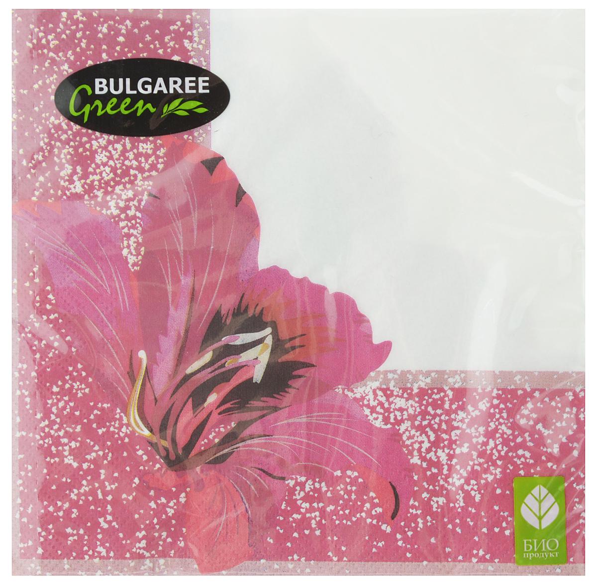 "Салфетки бумажные Bulgaree Green ""Фуксия"", трехслойные, 33 х 33 см, 20 шт"