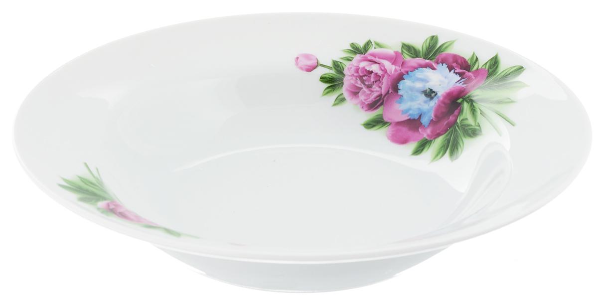 """Глубокая тарелка """"Идиллия. Пион"""" выполнена из  высококачественного фарфора и украшена ярким рисунком. Она  прекрасно  впишется в  интерьер вашей кухни и станет достойным дополнением  к кухонному инвентарю.  Тарелка """"Идиллия. Пион"""" подчеркнет прекрасный вкус хозяйки  и станет отличным подарком."""