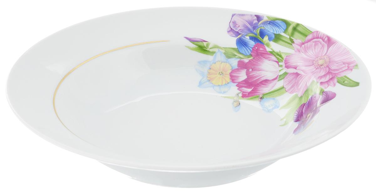Тарелка глубокая Идиллия. Английская классика, диаметр 24 см1303948Глубокая тарелка Идиллия. Английская классика выполнена из высококачественного фарфора и украшена ярким рисунком. Она прекрасно впишется в интерьер вашей кухни и станет достойным дополнением к кухонному инвентарю. Тарелка Идиллия. Английская классика подчеркнет прекрасный вкус хозяйки и станет отличным подарком.