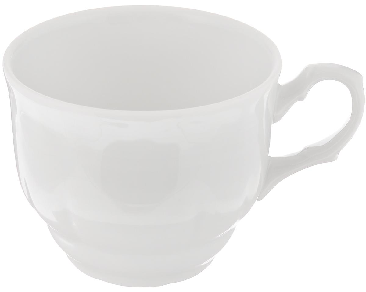 Чашка Тюльпан, 250 мл507781Чашка Тюльпан выполнена из высококачественного фарфора. Изделие покрыто превосходной сверкающей глазурью. Завитки на ручке чашки подчеркивают романтичность изделия. Нежнейший дизайн и белоснежность изделия дарят ощущение легкости и безмятежности.Изысканная чашка прекрасно оформит стол к чаепитию и станет его неизменным атрибутом.Диаметр чашки (по верхнему краю): 8,5 см.Высота стенок: 7 см.
