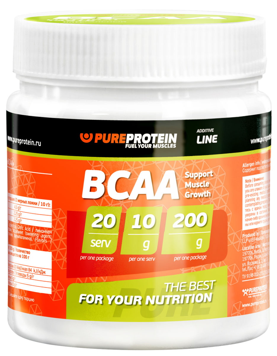 BCAA PureProtein Additive Line, лимон, 200 г bcaa 3300