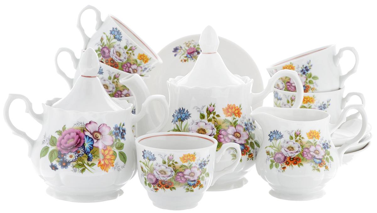 Сервиз чайный Романс. Букет цветов, 15 предметов2С0291Чайный сервиз Романс. Букет цветов состоит из 6 чашек, 6 блюдец, молочника, сахарницы и заварочного чайника. Изделия выполнены из высококачественного фарфора и оформлены цветочным рисунком. Изящный чайный сервиз прекрасно оформит стол к чаепитию и порадует вас элегантным дизайном и качеством исполнения.Объем чайника: 800 мл.Высота чайника (без учета крышки): 12,7 см.Диаметр чайника (по верхнему краю): 9,5 см.Высота сахарницы (без учета крышки): 11 см.Диаметр сахарницы (по верхнему краю): 9,5 см.Объем сахарницы: 600 мл.Объем сливочника: 350 мл.Высота сливочника: 10 см.Размер сливочника (по верхнему краю): 8,5 х 7 см.Объем чашки: 250 мл.Диаметр чашки (по верхнему краю): 9 см.Высота чашки: 7 см.Диаметр блюдца: 15 см.Высота блюдца: 3 см.