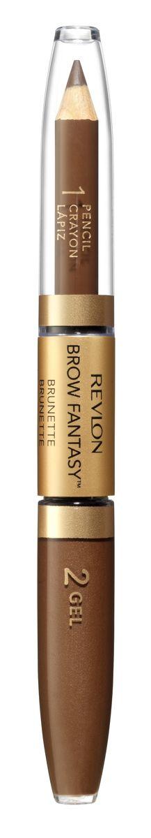 Revlon Карандаш И Гель для Бровей Colorstay Brow Fantasy Pencil & Gel Brunette 105 14 г7212842002Карандаш и гель для бровей Brow Fantasy окрашивает, оформляет и фиксирует форму бровей, в течение всего дня придавая им красивый и ухоженный вид. Благодаря этому уникальному и практичному средству вы создадите желаемый образ: акцентированную, чётко очерченную линию брови, или же мягкий и естественный вид. Начните нанесение грифельной частью карандаша, следуя естественной дуге брови, заполняя пространства между волосками. Тонированный гель фиксирует форму бровей и придаёт линии ещё более чёткую очерченность. Как карандаш, так и гель можно наносить либо в небольшом количестве, либо в несколько слоёв - в зависимости от того образа, который вы хотите создать.Аккуратно подвести брови вдоль роста