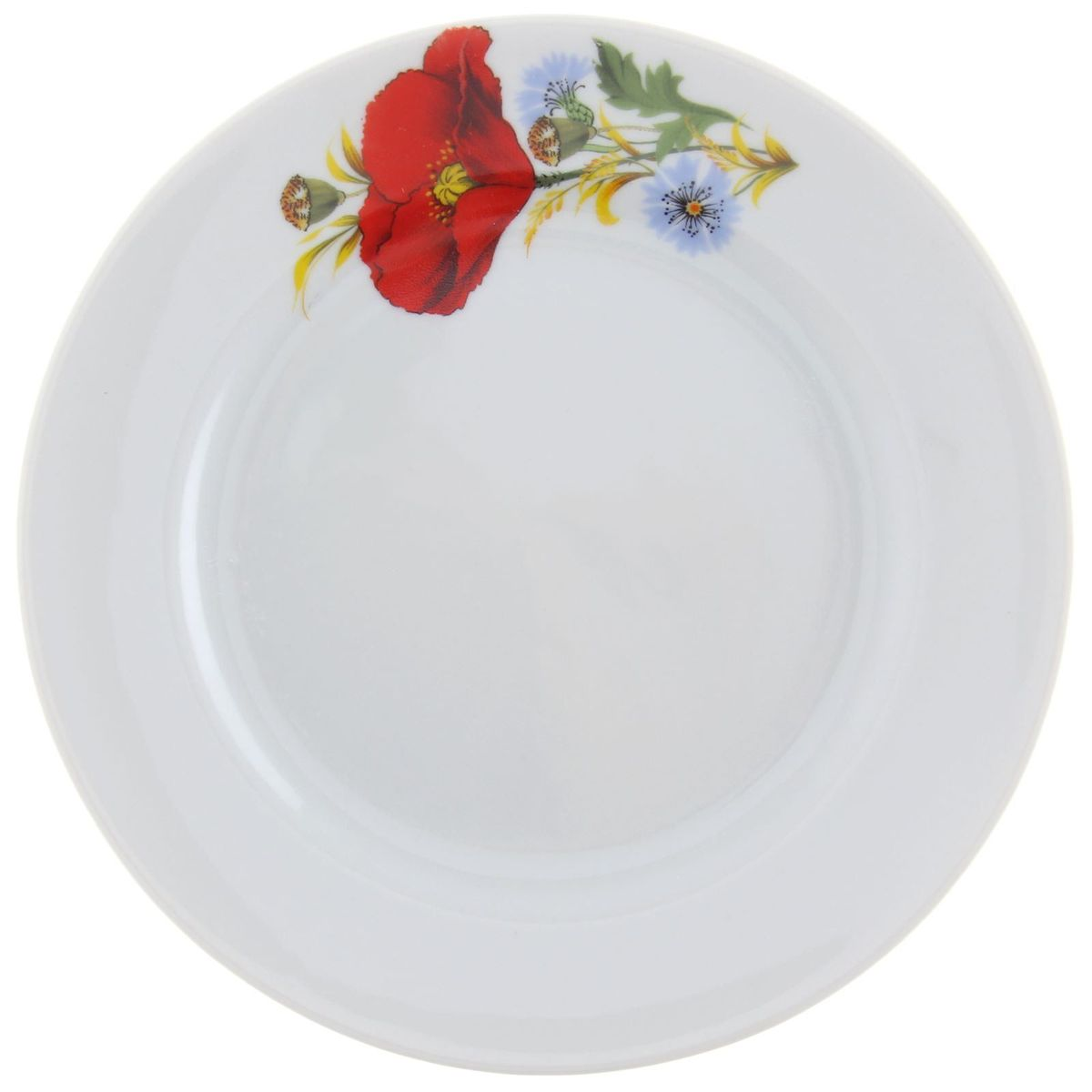 Тарелка мелкая Идиллия. Маки красные, диаметр 17 см1303876Мелкая тарелка Идиллия. Маки красные выполнена из высококачественного фарфора и украшена ярким цветочным рисунком. Она прекрасно впишется в интерьер вашей кухни и станет достойным дополнением к кухонному инвентарю. Тарелка Идиллия. Маки красные подчеркнет прекрасный вкус хозяйки и станет отличным подарком. Диаметр тарелки: 17 см.