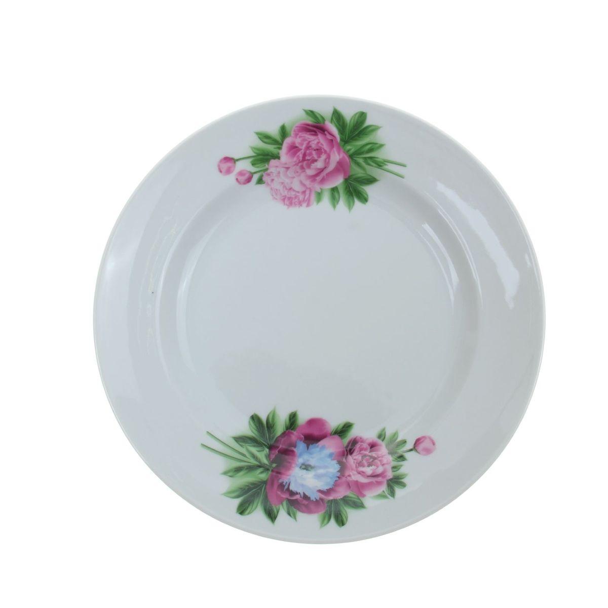 Тарелка мелкая Идиллия. Пион, диаметр 24 см1035430Мелкая тарелка Идиллия. Пион выполнена из высококачественного фарфора и украшена ярким рисунком. Она прекрасно впишется в интерьер вашей кухни и станет достойным дополнением к кухонному инвентарю. Тарелка Идиллия. Пион подчеркнет прекрасный вкус хозяйки и станет отличным подарком. Диаметр тарелки: 24 см.