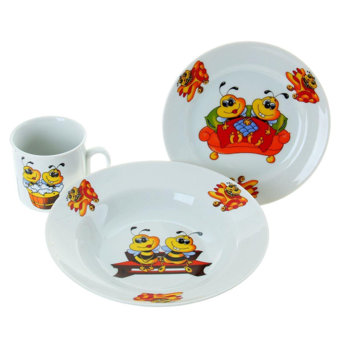 Набор посуды Идиллия. Пчелы, 3 предмета. 653653кружка 200 мл, 1 шт.;десертная тарелка 170 мм, 1 шт.;салатник 360 мл, 1 шт.