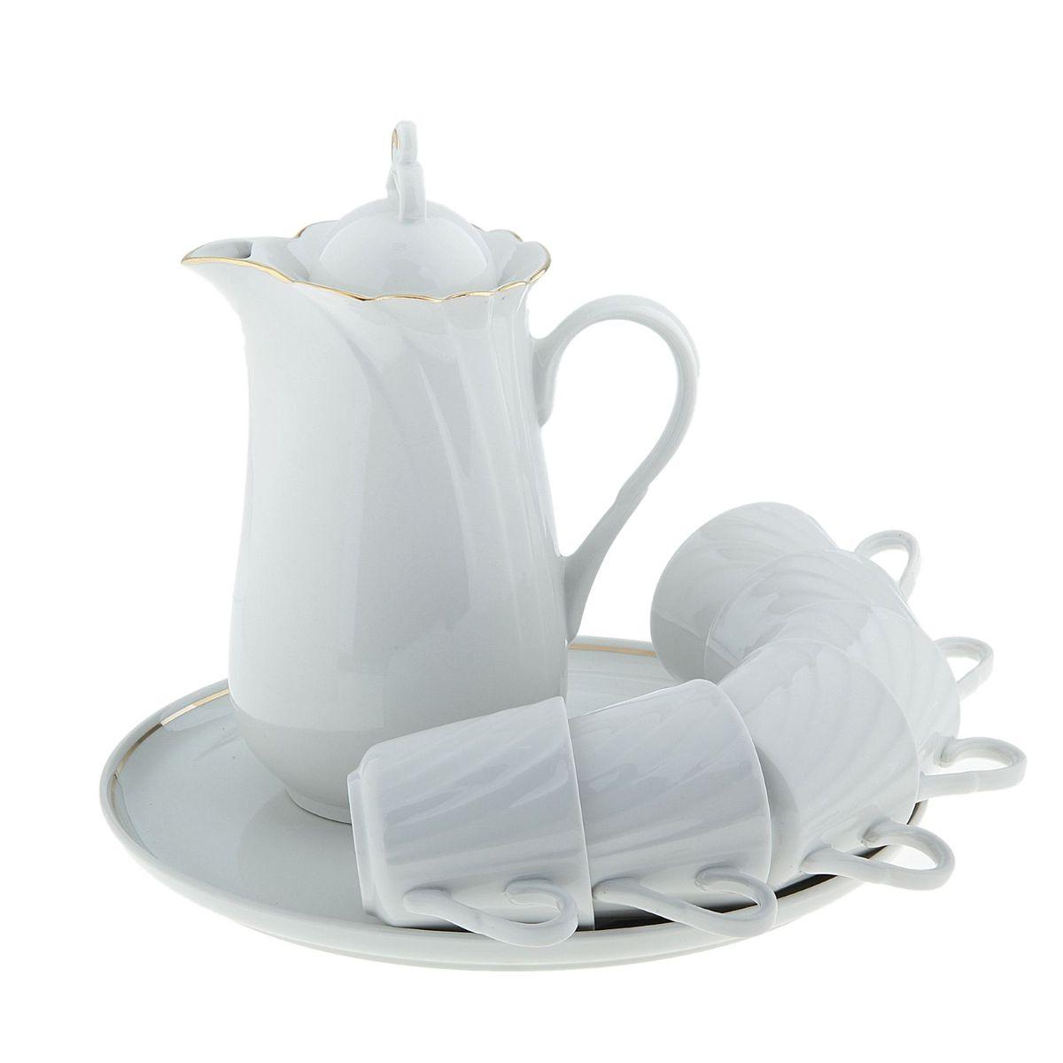 Набор питьевой Голубка, 8 предметов507877кувшин 1300 мл, 1 шт.;чайная чашка 220 мл, 6 шт.;блюдо для закусок 300 мм, 1 шт.