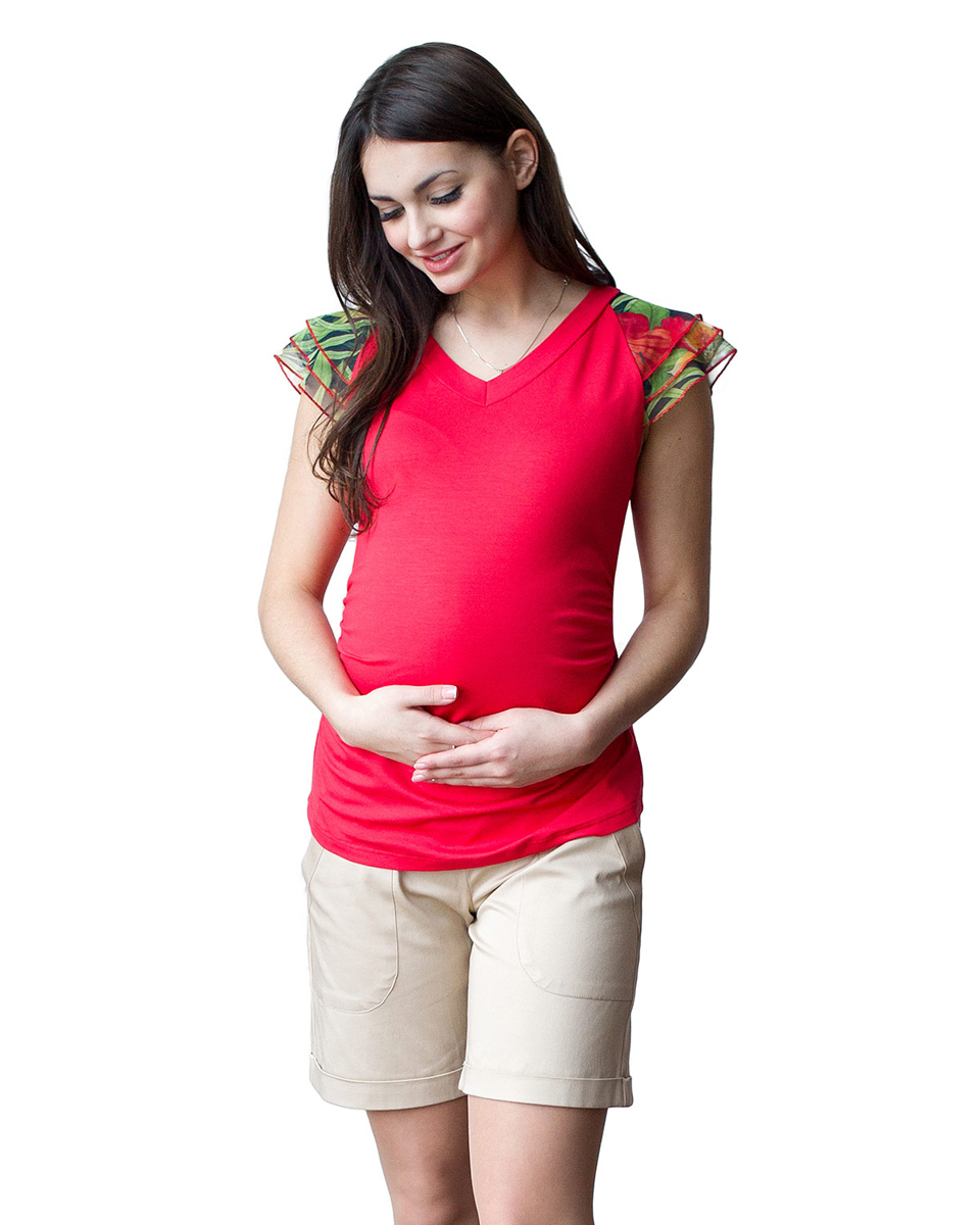 Блузка для беременных Фэст, цвет: коралловый. 06509. Размер XXL (52)06509Яркая летняя блузка с рукавами крылышками из сетки, удачно сочетается с любыми предметами гардероба. Фэст — одежда по вашей фигуре.