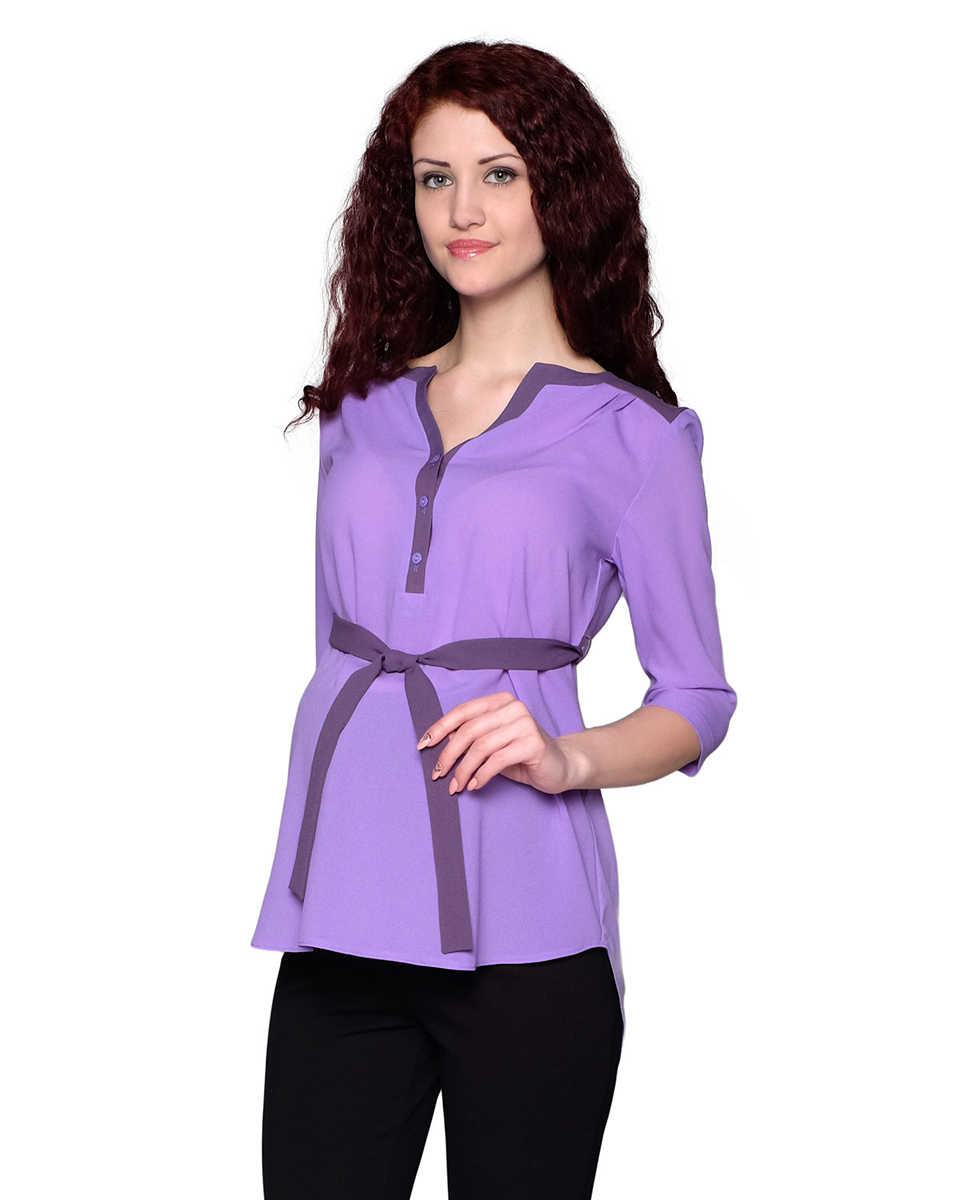 Блузка для беременных Фэст, цвет: сиреневый, фиолетовый. 1-185518В. Размер XXL (52)1-185518ВБлузка, выполненная в комбинации из однотонных полотен, будет радовать вас не только в период беременности, но и в период кормления малыша. Фэст — одежда по вашей фигуре.