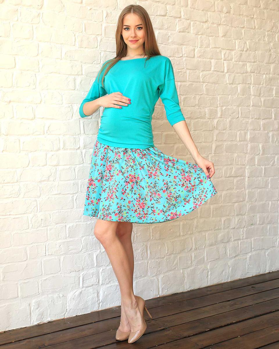 Юбка для беременных Фэст, цвет: светло-зеленый, розовый. 93501. Размер XL (50)