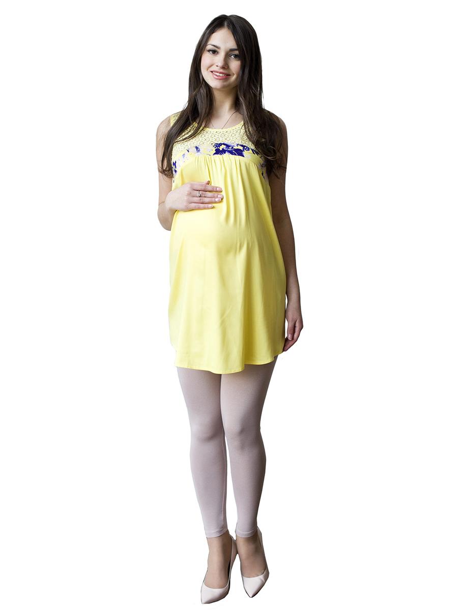 Туника для беременных Фэст, цвет: желтый, фиолетовый. 71509. Размер L (48)71509Легкая летняя туника без рукавов выполнена в комбинации натурального полотна и кружева. Отличный повседневный вариант в жаркую летнюю погоду. Фэст - одежда по вашей фигуре.