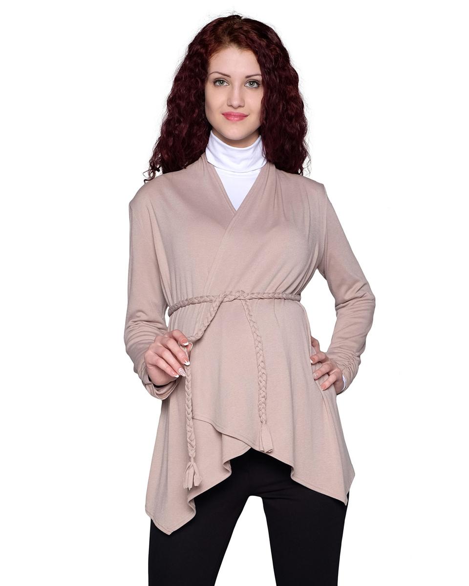 Кардиган для беременных Фэст, цвет: бежевый. 53514Е. Размер XL (50)53514ЕПрекрасный кардиган с асимметричной линией низа, благодаря свободному крою, станет отличным дополнением вашего casual-гардероба в период беременности и после рождения малыша. Фэст - одежда по вашей фигуре.