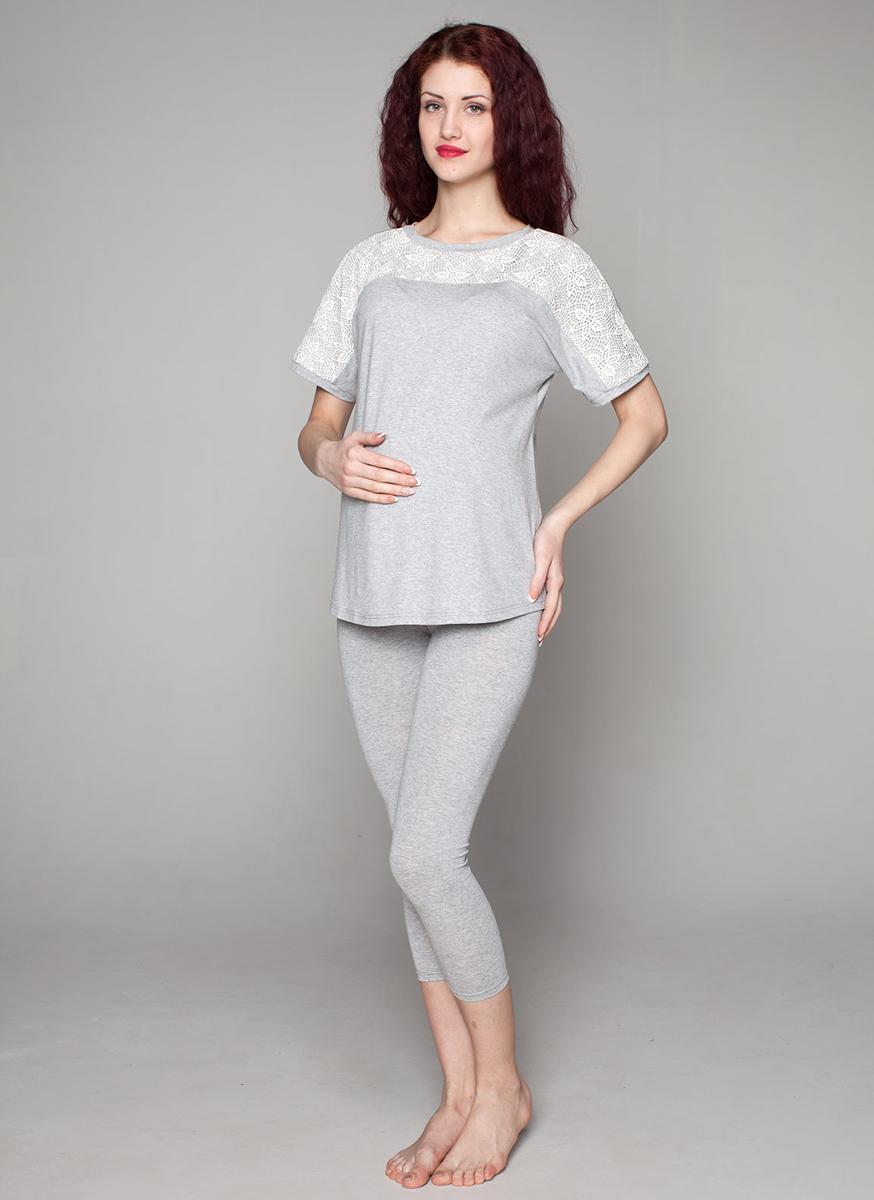 Комплект одежды для беременных Фэст: туника, леггинсы, цвет: серый меланж. П78509К. Размер S (44)П78509КУдобный комплект для беременных мамочек состоит из леггинсов и туники с кружевной отделкой. Фэст — одежда по вашей фигуре.