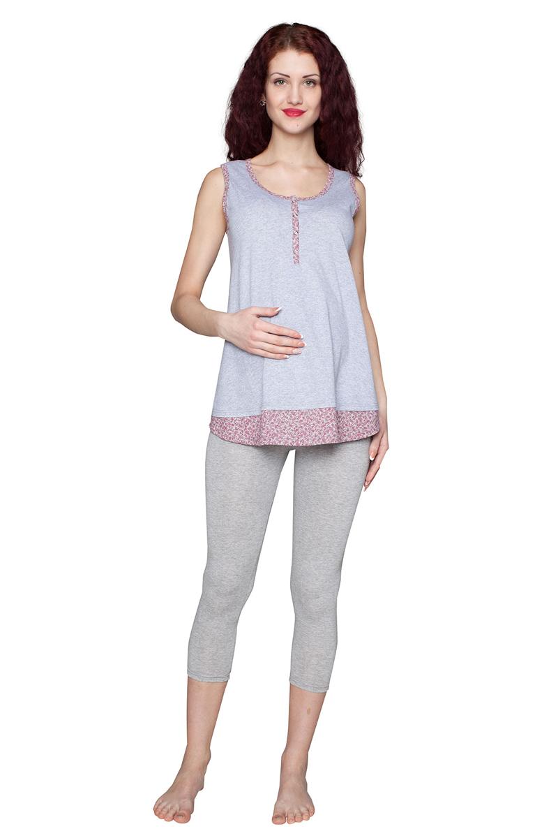 Комплект одежды для беременных и кормящих Фэст: майка, леггинсы, цвет: серый, малиновый. П86505К. Размер XXXL (54)П86505ККомплект для беременных и кормящих женщин, состоящий из майки и леггинсов, выполнен из мягкого хлопкового полотна с добавлением эластана. Майка имеет удобную застежку-планку. Леггинсы выполнены с эластичным бандажом на живот. Фэст-одежда по вашей фигуре.