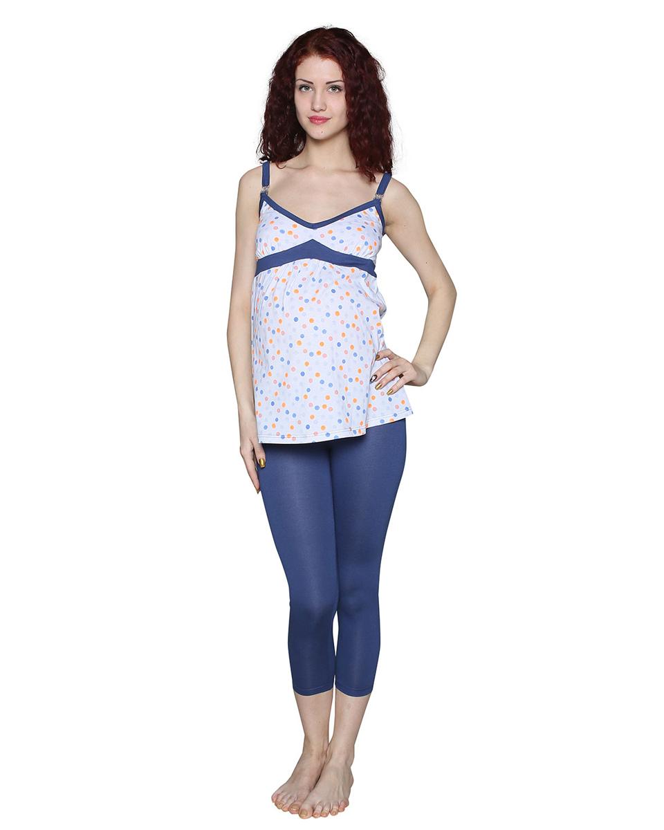 Комплект одежды для беременных и кормящих Фэст: майка, леггинсы, цвет: синий, белый. П24504К. Размер XXL (52)П24504ККомфортный комплект для беременных и кормящих мамочек состоит из леггинсов и майки на тонких бретелях с клипсами для удобства кормления малыша. Фэст — одежда по вашей фигуре.