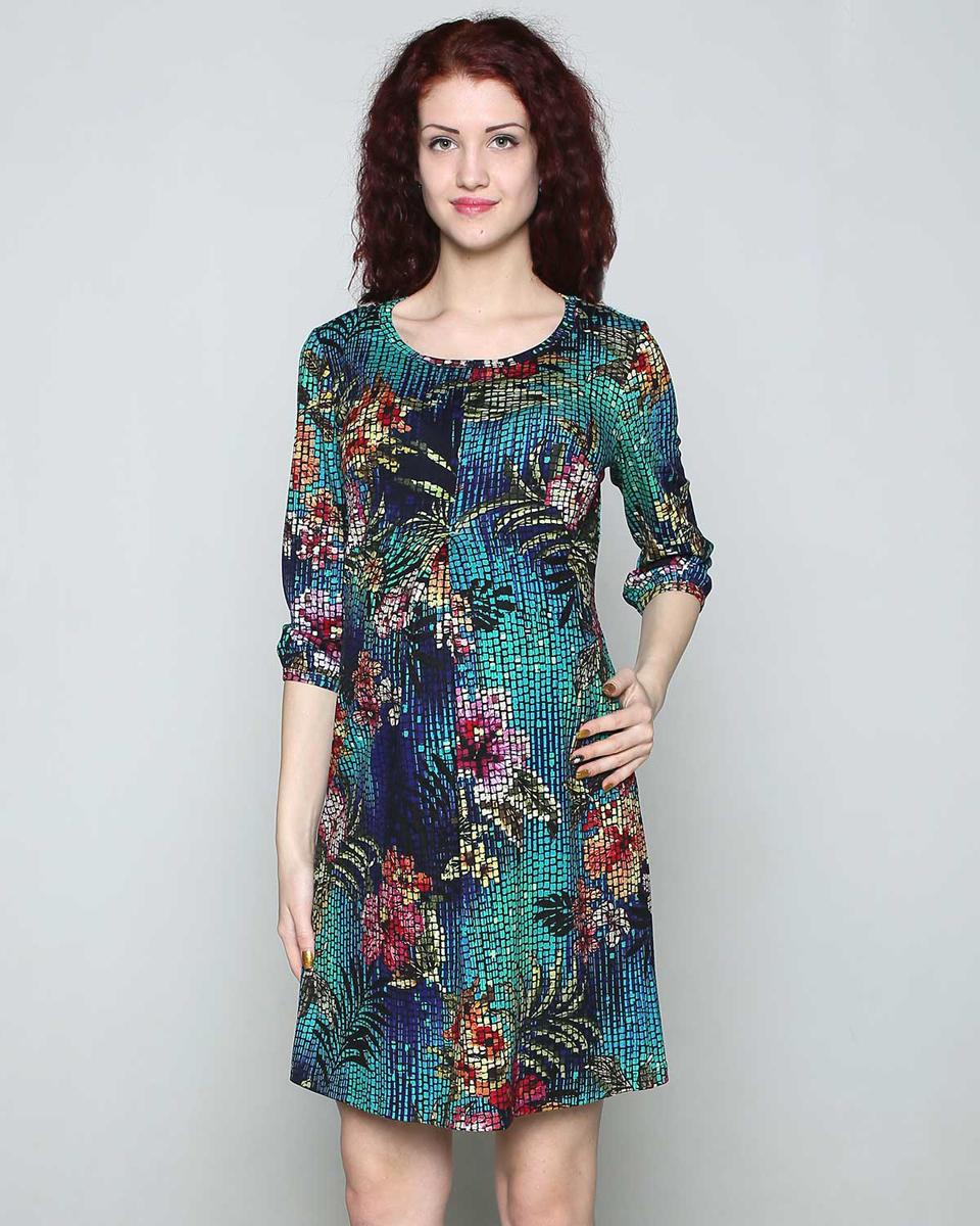 Платье для беременных Фэст, цвет: зеленый, синий. 110507В. Размер XS (42)110507ВЯркое повседневное платье для беременных станет любимым предметом вашего гардероба. Складка на животе обеспечит комфорт растущему животику. Фэст — одежда по вашей фигуре.
