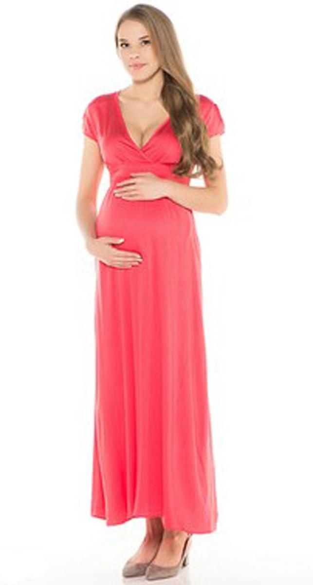 Платье для беременных Фэст, цвет: коралловый. 95501А. Размер XXL (52)95501АОднотонное платье в пол выполнено из натурального полотна. Отличный повседневный вариант. Фэст — одежда по вашей фигуре.