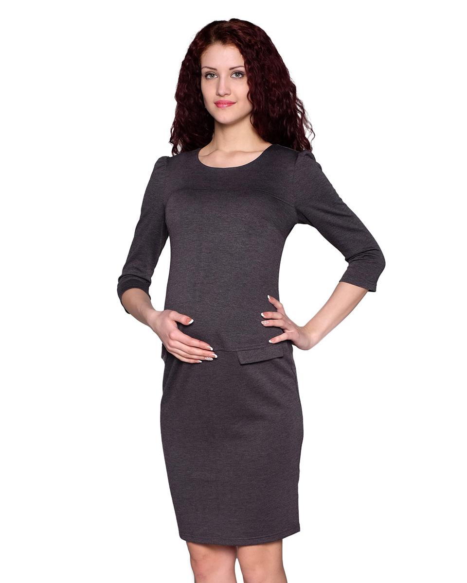 Платье для беременных Фэст, цвет: серый. 122507В. Размер XS (42)122507ВИзящное платье классического покроя с рукавом три четверти и округлым вырезом горловины выполнено из однотонного полотна. Простой и стильный фасон - отличный офисный вариант. Фэст - одежда по вашей фигуре.
