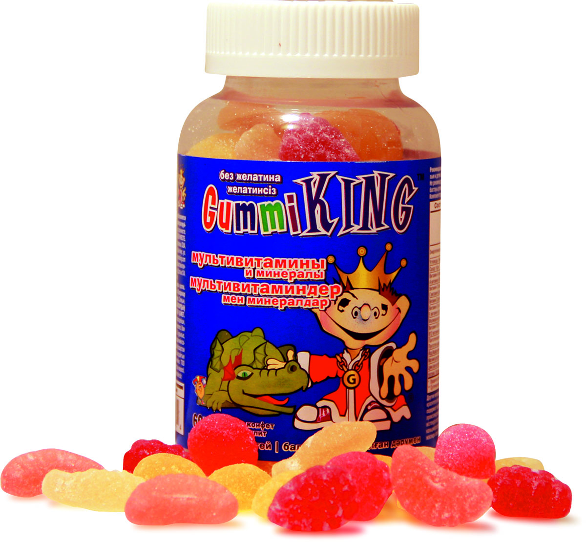 Мультивитамины Gummi King, жевательные конфеты, 30 штV0000007484Полный комплекс витаминов и минераловСпособствуют росту и развитиюУкрепляют иммунную систему ребёнкаПолезны для нервной системы и здорового снаПовышают умственную работоспособностьГипоаллергенны и не содержат желатинаНе содержат синтетических ароматизаторовСостав в 1 пастилке: витамин А - 1250 ЕДвитамин С - 24 мгвитамин Д - 100 ЕДфолиевая кислота - 100 мкгвитамин Е - 7.5 ЕДвитамин В12 - 2 мкгпантотеновая кислота - 2.5мгйод - 38 мкгмагний - 4мгцинк - 3.8 мгнатрий - 8 мгПрочие ингредиенты: сироп тапиоки, вода, пектин, лимонная кислота, натуральные ароматизаторы и красители (концентраты свёклы, черники, куркумы), трикальция фосфат, клетчаткаТовар не является лекарственным средством.Товар не рекомендован для лиц младше 18 лет.Могут быть противопоказания и следует предварительно проконсультироваться со специалистом.