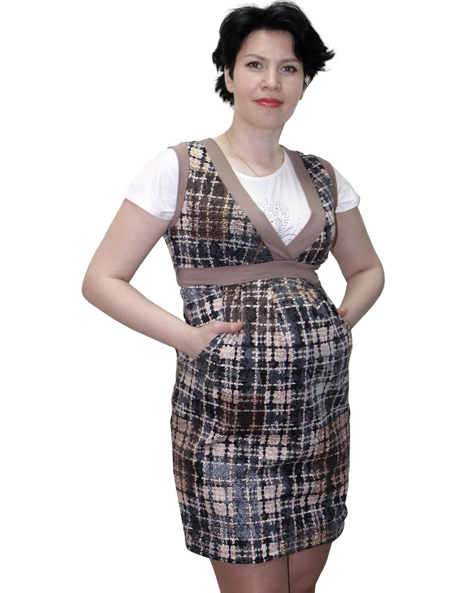 Сарафан для беременных Фэст, цвет: серый, черный. 17507. Размер XL (50)17507Комфортный сарафан для беременных — отличный офисный вариант. Удачно сочетается с различного вида джемперами и блузками. Фэст - одежда по вашей фигуре.