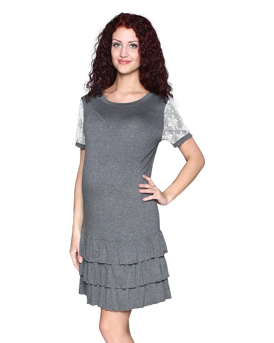 Платье домашнее для беременных Фэст, цвет: серый, молочный. П83509А. Размер S (44)П83509АПлатье женское для беременных выполнено из мягкого вискозного полотна с добавлением эластана. Платье прямого силуэта с кружевной кокеткой. Рукав короткий, украшен кружевом. Изюминка модели - воланы по низу изделия. Фэст - одежда по вашей фигуре.