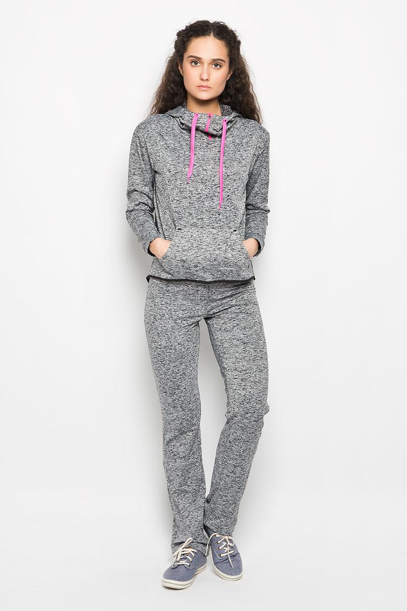 Толстовка женская Moodo, цвет: черный, серый. L-BL-2015 BLACK MEL. Размер XS (42) пуловер женский moodo цвет синий белый l sw 2005 d blue размер l 48