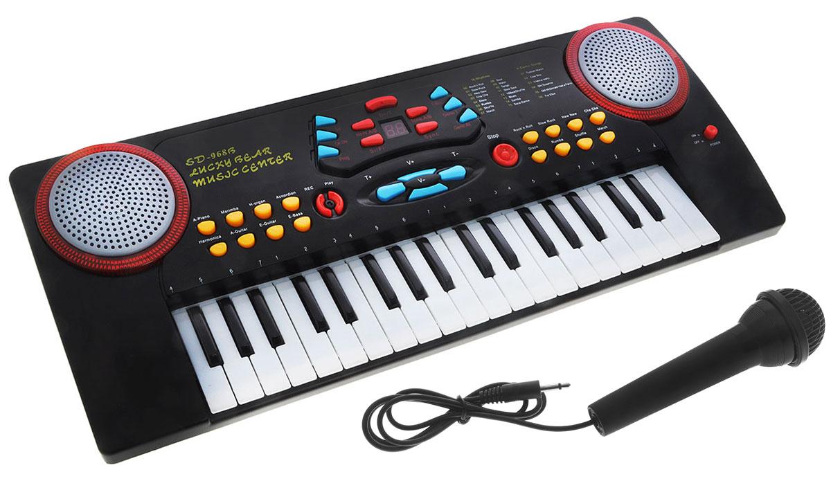 ABtoys Синтезатор DoReMi 37 клавиш с микрофоном цвет серебристый синтезатор 49 клавиш дореми